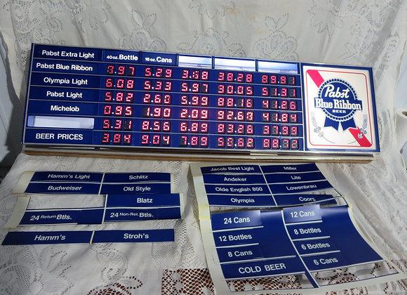 PABST Blue Ribbon PBR Beer Lighted Menu Price Board Sign Display