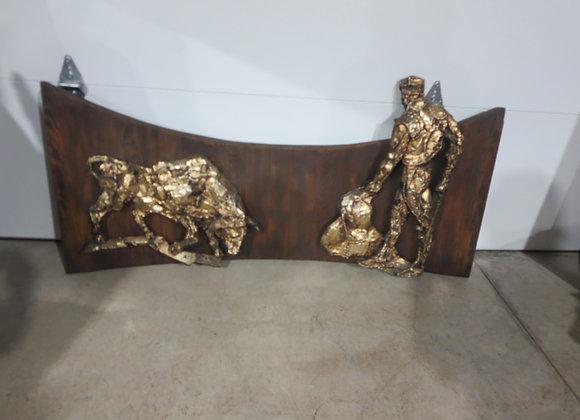 Brutalist Matador Bull Wall Sculpture by Finesse Originals