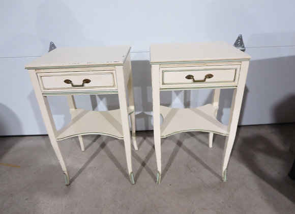 Painted Mahogany Pair End Tables / Night Stands