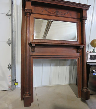 Antique Oak Fireplace Mantle