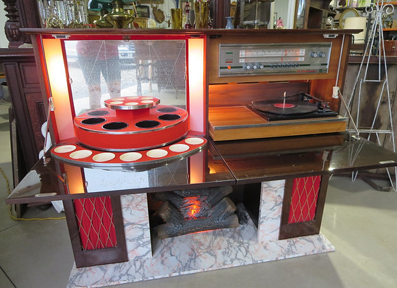 Koronette Bar Fireplace Stereo Combo