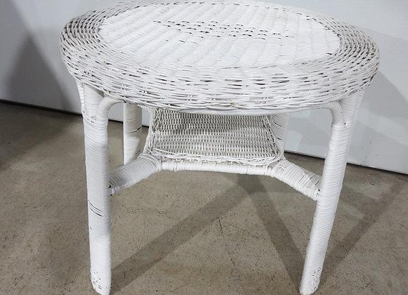 White Wicker Round Table