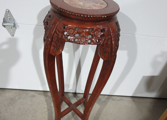 Asian Rosewood? Carved Wood Marble Top Plant Stand