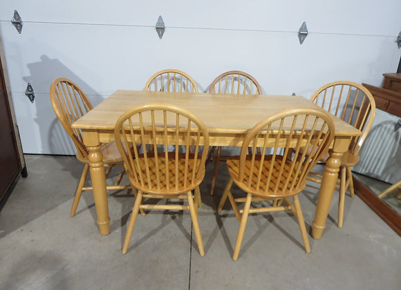 Large Maple Farm Table + 6 Chairs