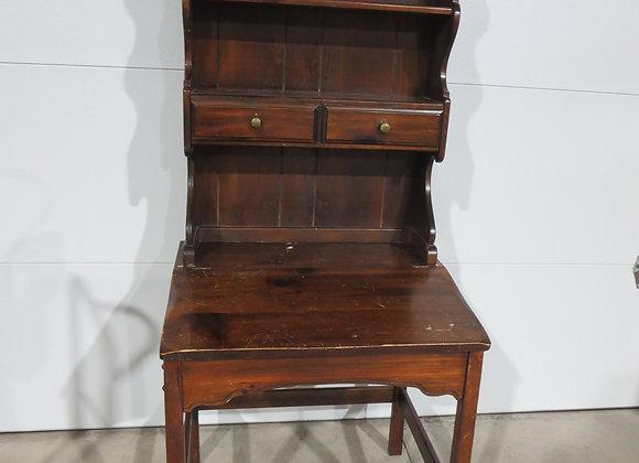 2 Piece Pine Slant Top Desk and Shelf