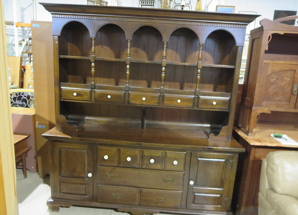 Large Pine China Hutch Cabinet