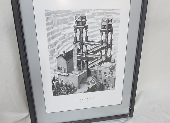 "Framed Matted MC Escher ""Waterfall"" Print"