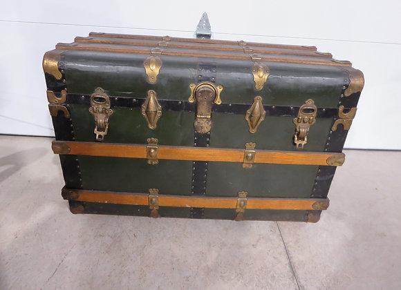 Green Metal & Wood Slat Large Trunk