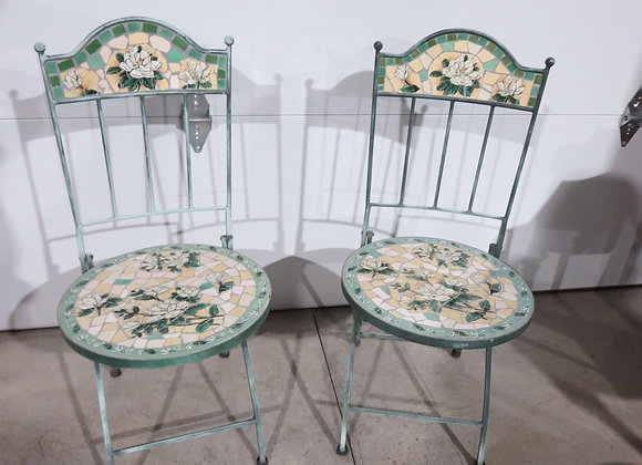 Pair of Tiled Metal Patio Chairs
