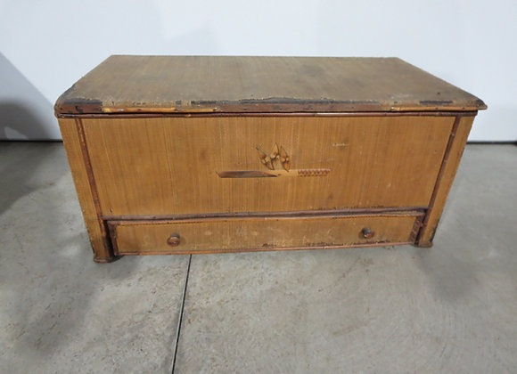 Vintage Cloth Covered Trunk w/ Drawer
