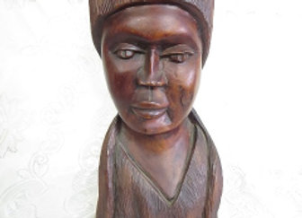 Large Carved Wooden Lady Bust