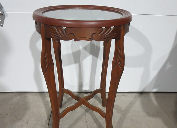 Round Wooden Table w/ Glass Top