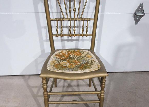 Vintage Wooden Vanity Desk Chair Painted Gold