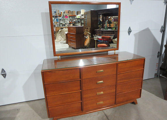 Kling Commander Cherry Mid Century 12 Drawer Dresser w/ Mirror
