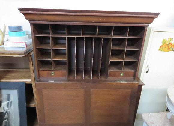 Vintage Desk Top w/ Cubby Slots & Drawers w/ a full front door that swings down.