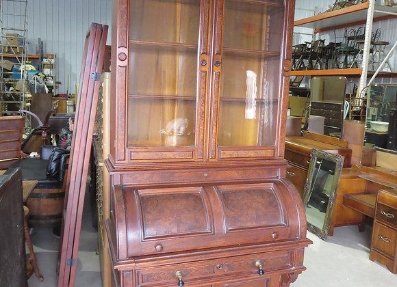 Antique Secretary Roll Top Desk Curio Cabinet