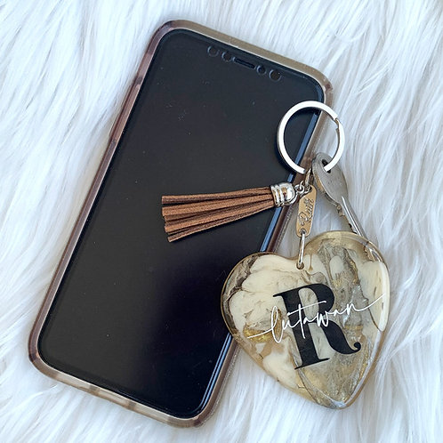 Into Your Heart Personalised Resin Keychain