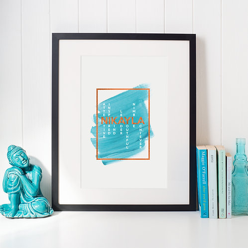 What's in a Name Print, Block Colour with Foil
