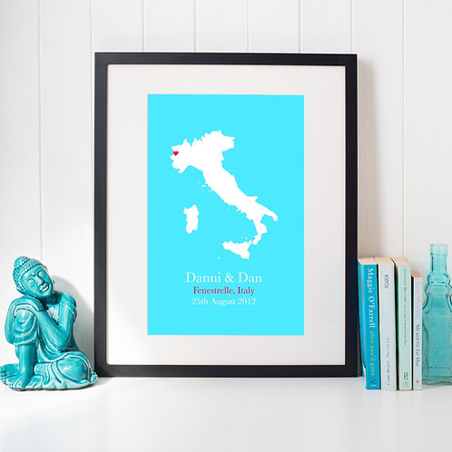 Personalised Country Map with Heart