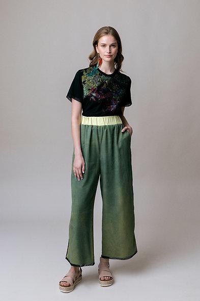 Indigo Dyed Wide Legged Tencel Pants