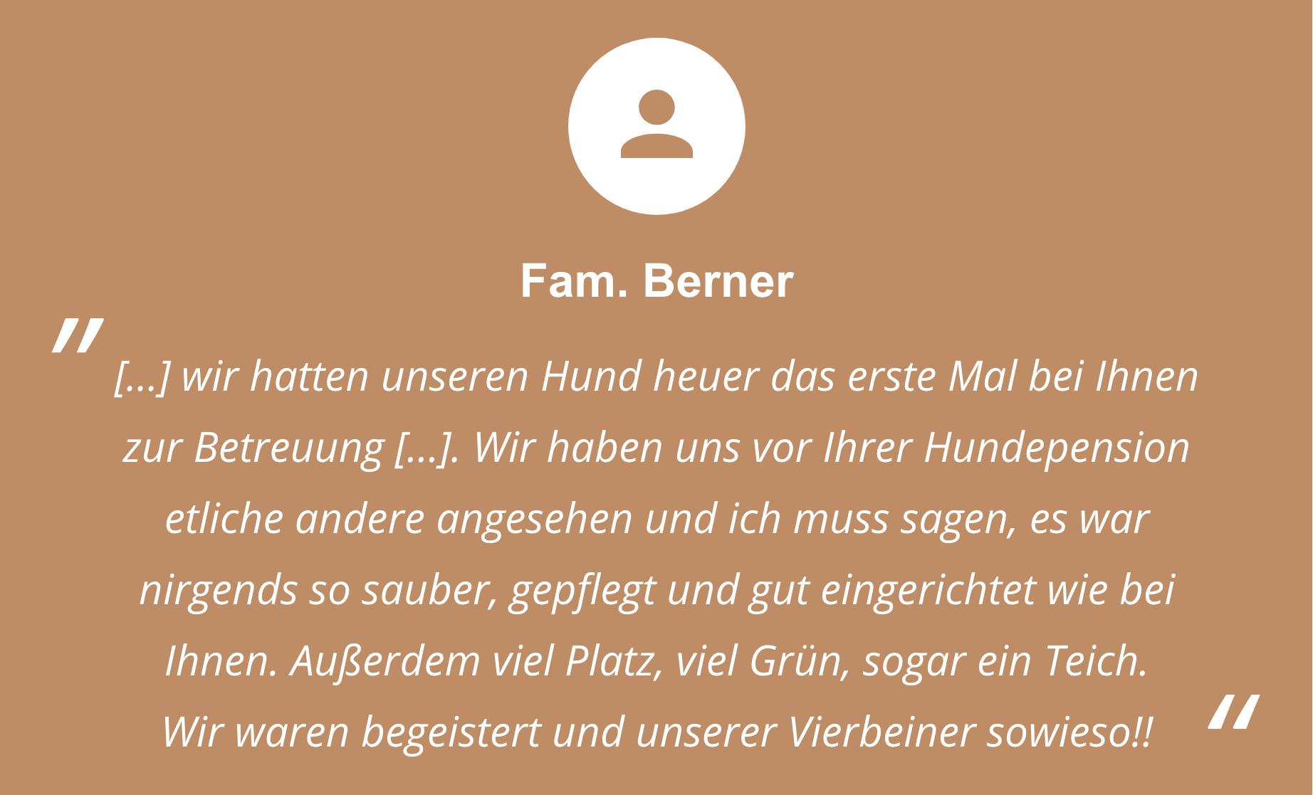 Feedback von Familie Berner