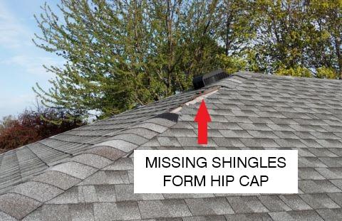 Missing shingles for hip cap