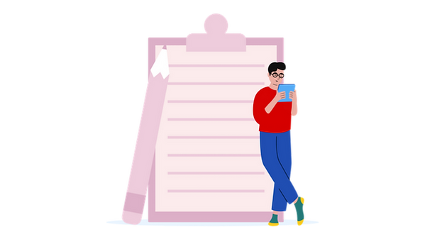 illustration of a man looking at a notebook and leaning against a giant clipboard