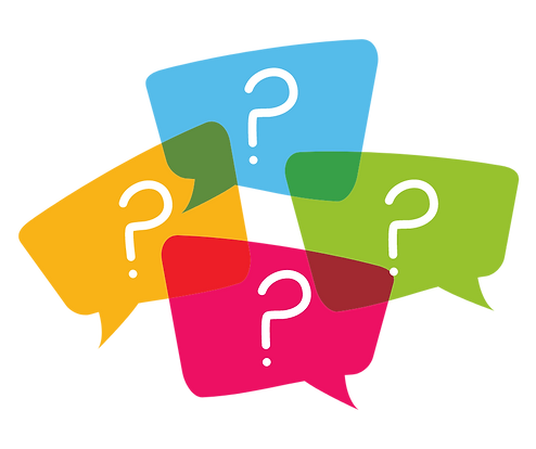 illustration of speech bubbles with question marks inside
