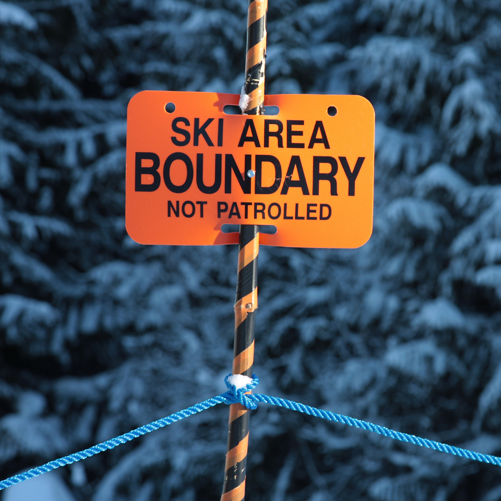 "Photo with snowy background. In foreground is a bright orange sign stating ""Ski Area Boundary Not patrolled"""