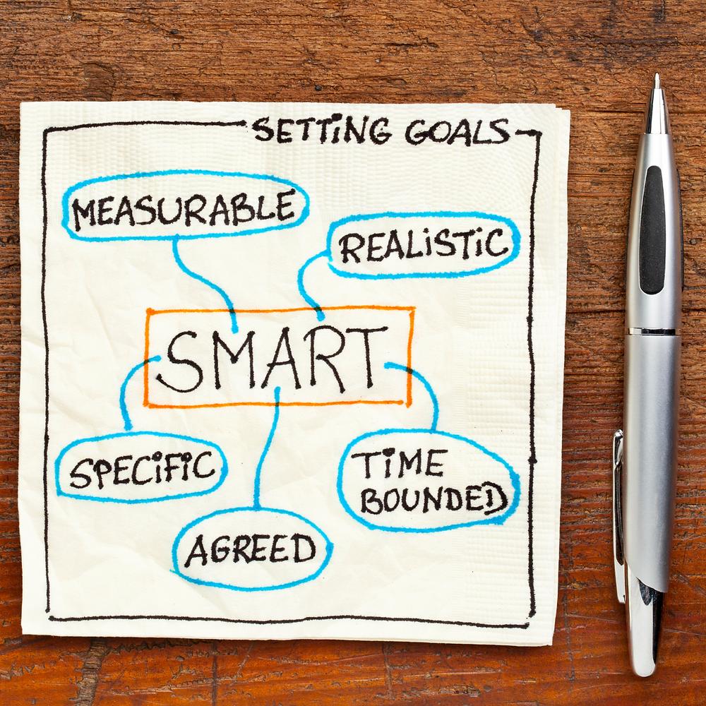 SMART goals written on a napkin