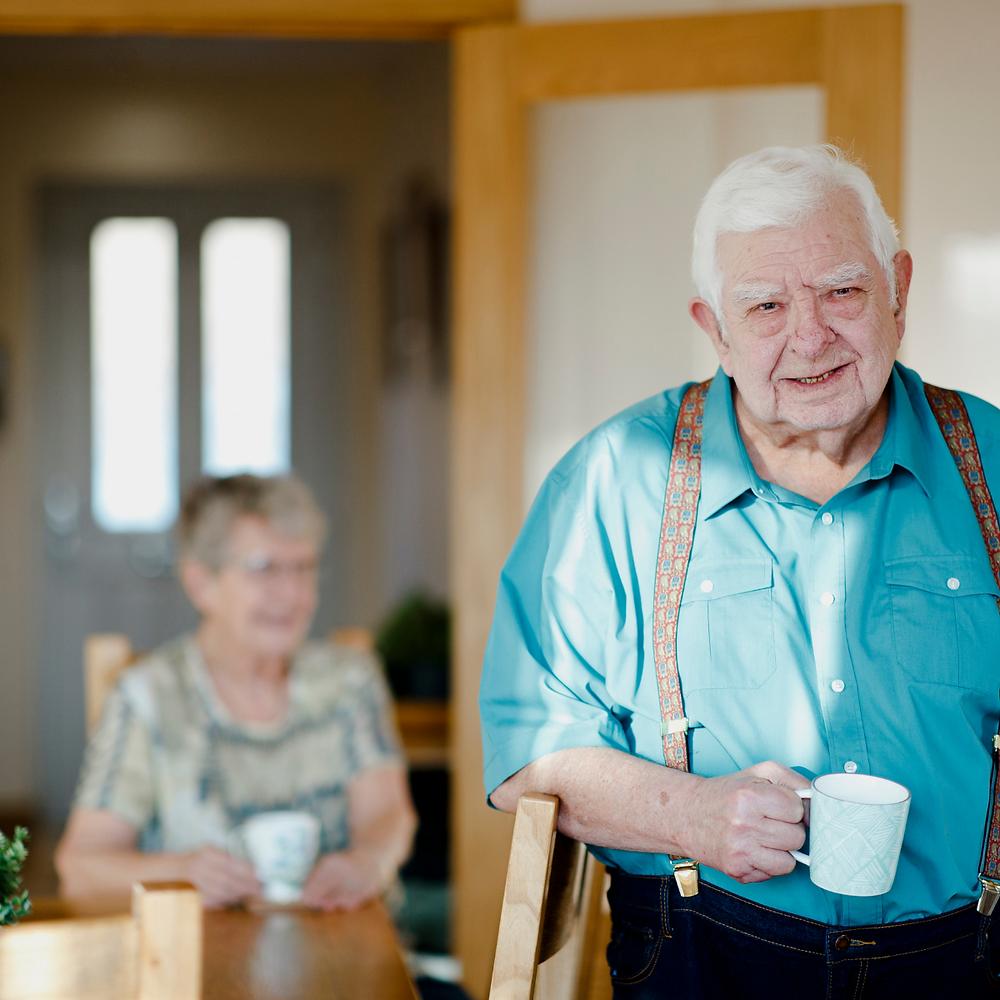 Photo of elderly couple drinking tea