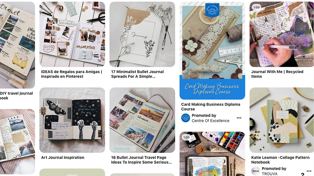 Screenshot of scrapbook images from Pinterest