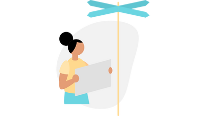 illustration of a person reading a map, stood under a signpost, depicting a guide to caring for someone with a mental health condition