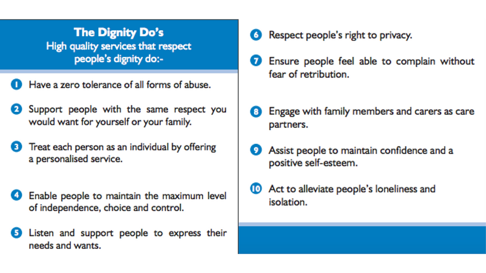 "A screenshot of Dignity in Care's ""10 Dignity Do's""."