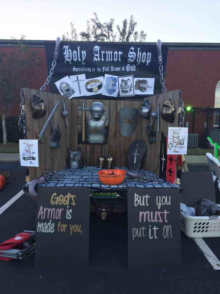 Christian ideas for church trunk or treat, holy armor