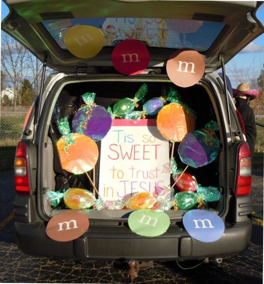 Christian ideas for church trunk or treat, jesus is so sweet candy theme