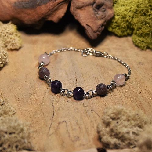 """Bracelet """"anti-stress"""" - Améthyste, lépidolite et quartz rose"""