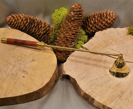 Eteignoir à bougie doré & manhe en bois