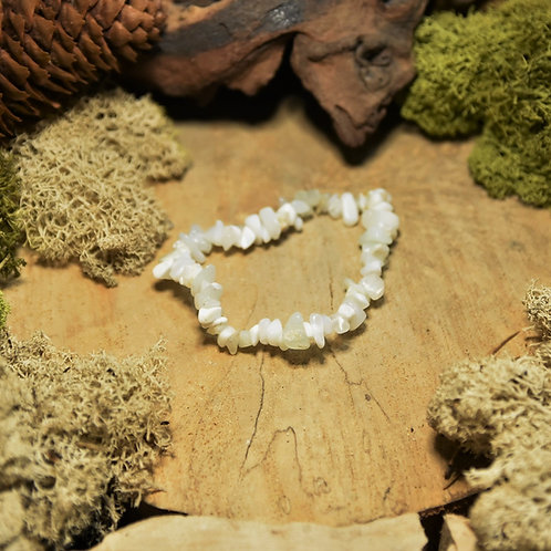 Bracelet baroque - opale blanche