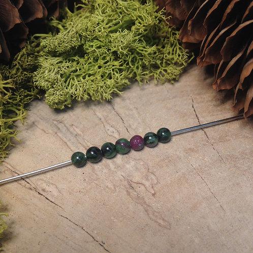 Perle zoïsite rubis 4 / 4.5mm