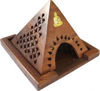 Porte encens en bois pyramide -Bouddha