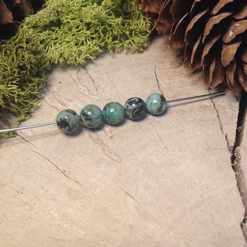 Perle jaspe turquoise 6 / 6.5mm