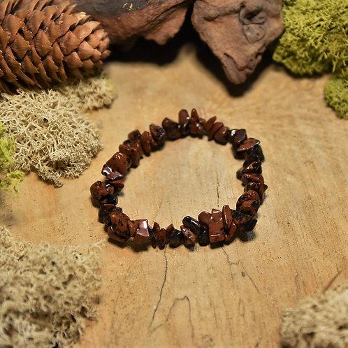 Bracelet baroque - obsidienne acajou