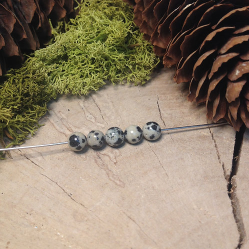 Perle jaspe dalmatien 6 / 6.5mm