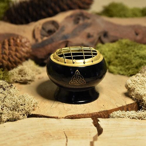Brûle-encens laiton coloris noir avec triketra
