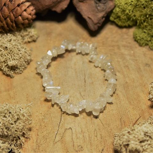 """Bracelet baroque - spectrolite blanche - """"pierre de lune bleutée"""""""