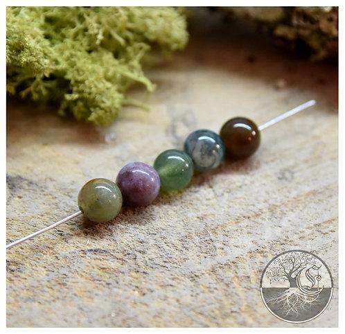 Perle d'agate mousse - 8mm