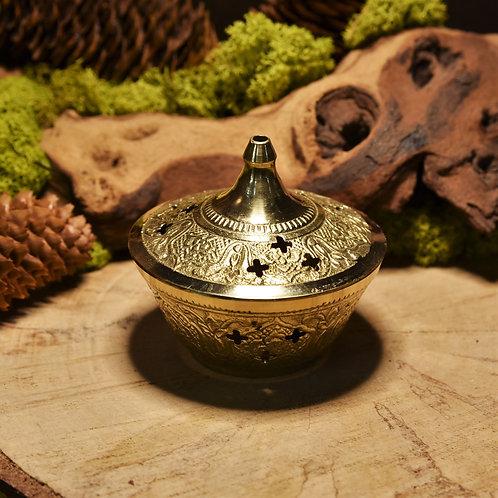Brûle-encens en laiton avec couvercle et grille