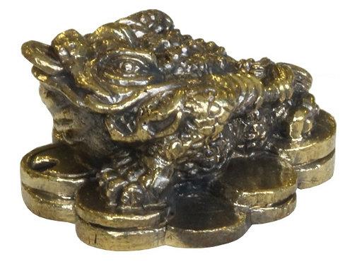 Mini Statue Grenouille de l'Argent laiton 1,5 x 3 cm - lot de 3