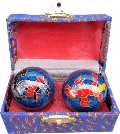 Boules Qi gong bleues dragon